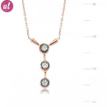 Inline Three Gem Silver Necklace
