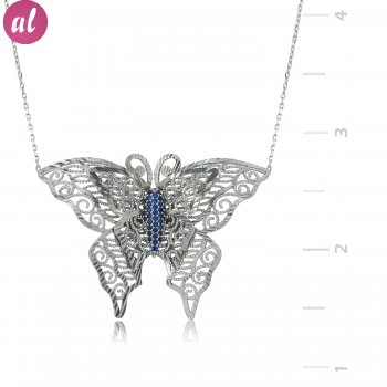 Rhodium Butterfly Silver Necklace