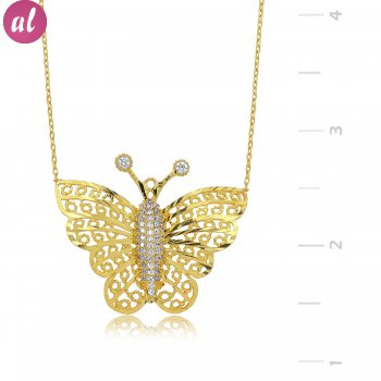 Gold Plated Butterfly Silver Necklace
