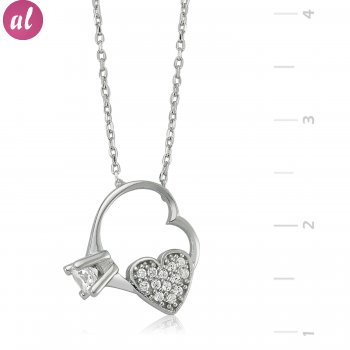 My Heartin Solitaireı Silver Necklace