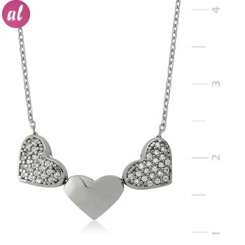 Three Heart Silver Necklace