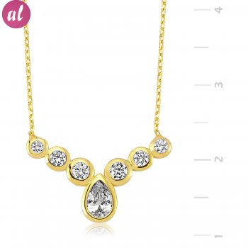 Gold Plated Drop Shaped Necklace