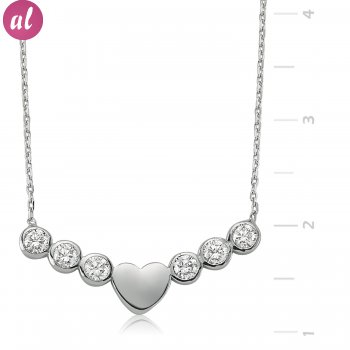 Solitaire Heart Silver Necklace