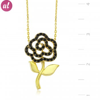 Black Stone Rose Silver Necklace