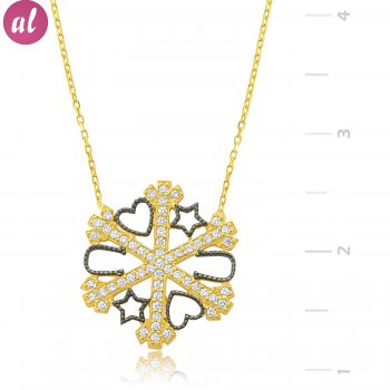 Gold Plated Snowflake Silver Luck Necklace