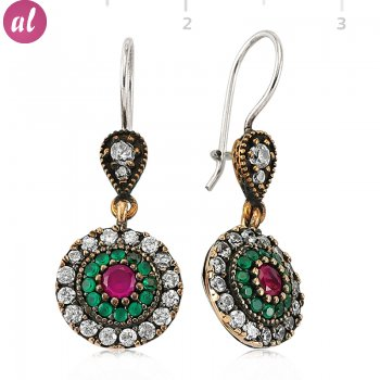 Emerald and Ruby Stone Authentic Earring