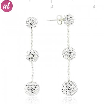 Zircon Stone Three Ball Earring