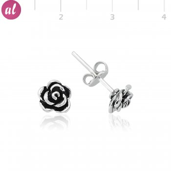 Oxidized Silver Rose Earring