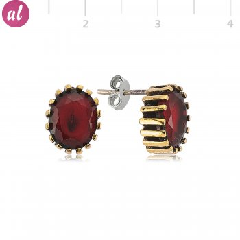 Maroon Stone Authentic Earring