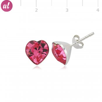 Pink My Heart Silver Earring