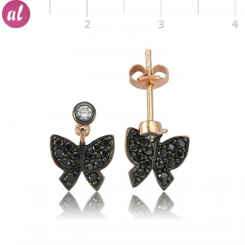 Rose Butterfly Silver Earring