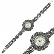 Marcasite Stone Silver Womens Watch