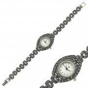 Marcasite Stone Silver Watch
