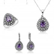 Zircon Ametist Stone Mauve Drop Shaped Collection