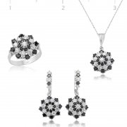 Zircon Black White Stone Flower Collection