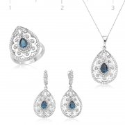 Daisy Patterned Blue Stone Drop Shaped Collection