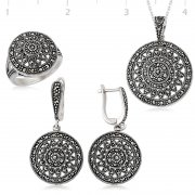 Marcasite Rounded Silver Collection