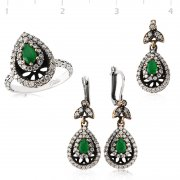 Silver Zircon Green Stone Authentic Oval Collection