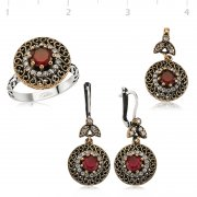 Silver Zircon Red Stone Authentic Collection