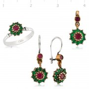 Silver Zircon Green And Red Stone Authentic Collection