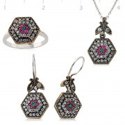 Silver Zircon Green And Pink Stone Authentic Collection