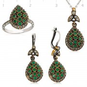 Silver Zircon Green Stone Authentic Collection