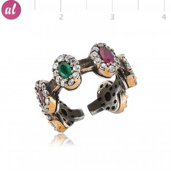 Emerald and Ruby Stone Full Round Silver Ring