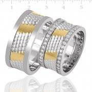 Silver Gold Plated Couple Wedding Ring