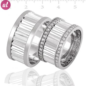Silver Rhodium Plated Couple Wedding Ring