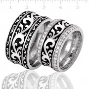 Silver With Rhodium Plating Wedding Rings