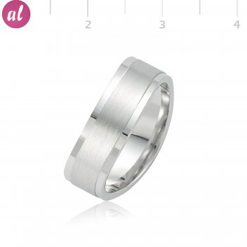 Rhodium Plated Silver Mens Wedding Ring