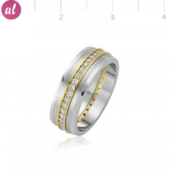 Rhodium Plated Stone Silver Womens Wedding Ring