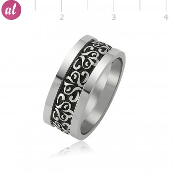 Rhodium Plated Patterned Silver Mens Wedding Ring