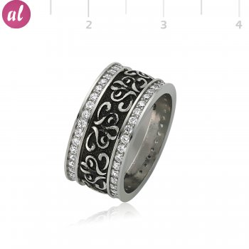 Rhodium Plated Patterned Silver Womens Wedding Ring