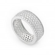 Silver Full Round Wedding Ring