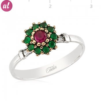 Silver Zircon Green And Pink Stone Authentic Ring