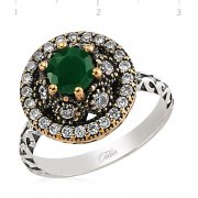 Silver Zircon Green Stone Authentic Ring