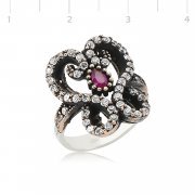 Silver Zircon White And Red Stone Authentic Ring