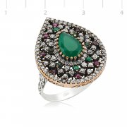 Silver Zircon Green And Red Stone Authentic Ring