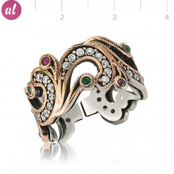 Emerald and Ruby Stone Silver Leaf Ring