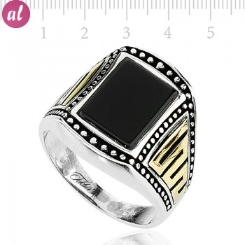 Zircon Stone Silver Mens Ring