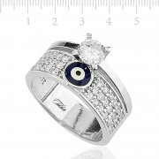Full Round Solitaire Totemic Silver Ring
