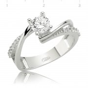 Zircon Curled Solitaire Ring