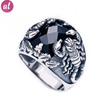 Silver Scorpion Mens Ring
