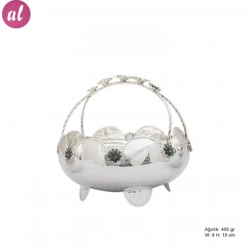 Flower Patterned Silver Basket